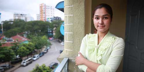 Activist Wai Wai Nu at her office in Yangon, Myanmar, | Photo: Thin Lei Win