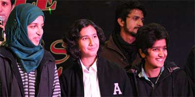 The all-girl rock band Praagaash during the 'Battle of the Bands' competition in Srinagar, Jammu and Kashmir