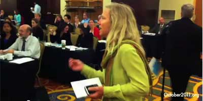 Dr Margaret Flowers speaks out at a DC Healthcare Conference