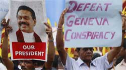Supporters of Sri Lankan President
