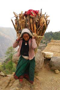 Women carrying firewood collected from the nearby forest