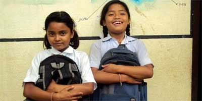 Domestic workers Manisha and Asmita cherish their time at school each day.
