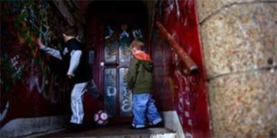 Children playing in disused building